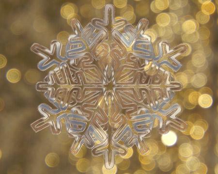 contoured: Winter snowflake on golden background