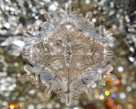 contoured: Winter snowflake in silver on a silver background