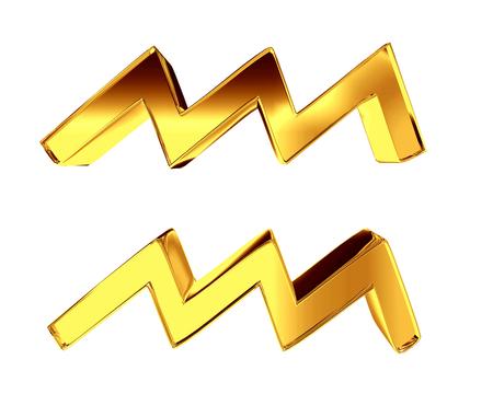 Zodiac sign Aquarius on a white background