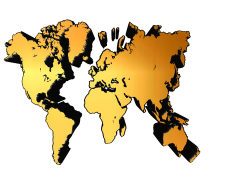 robinson: Golden world map on a white background Stock Photo