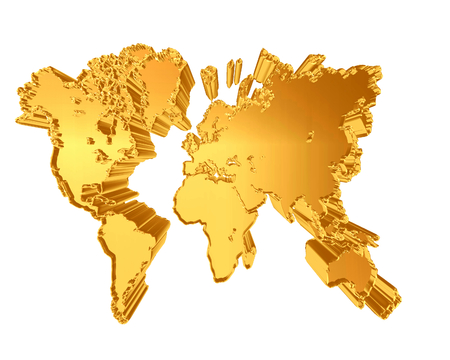 Golden world map on a white background Stock Photo