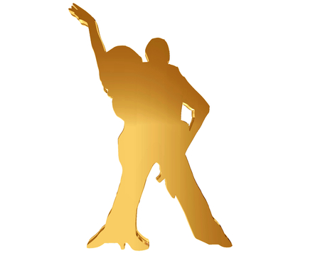 Gold silhouettes of dancing people on a white background Stock Photo