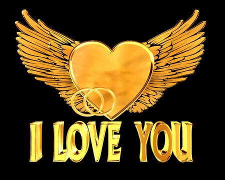 golden heart: Golden heart with wings on a black background Stock Photo