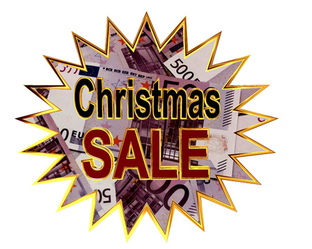 Sign for Christmas sale isolated on white background Stock Photo