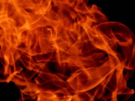 Red fire flames on a black background