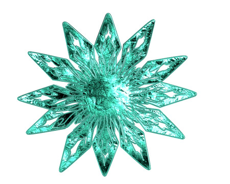 contoured: Winter frozen snowflake on a white background