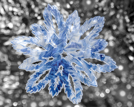 shiny: Winter snowflake on shiny background Stock Photo