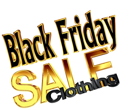 Text Black Friday sale with the categories of goods on a white background Stock Photo