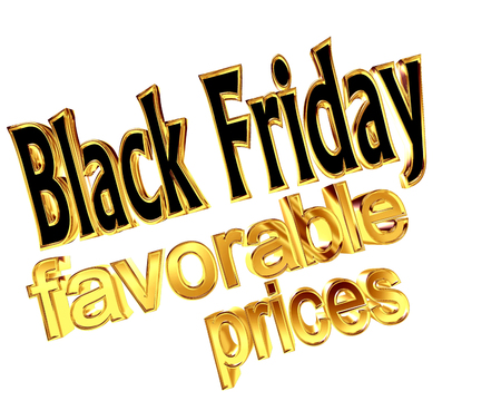 Text Black Friday with favorable prices on a white background