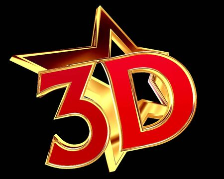 3d illustration. Text 3d golden star with black background Stock Photo