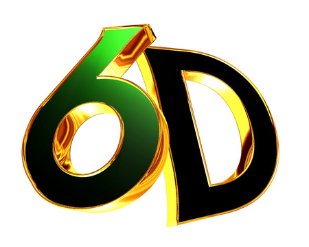 stereoscope: 3d illustration. 6d text on a white background