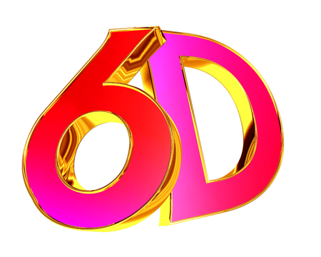 3d illustration. 6d text on a white background