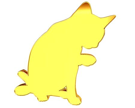 paillette: Golden silhouette of a cat on a white background Stock Photo