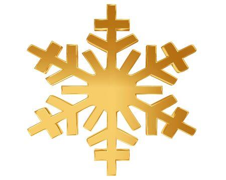 Gold snowflake on a white background Stock Photo