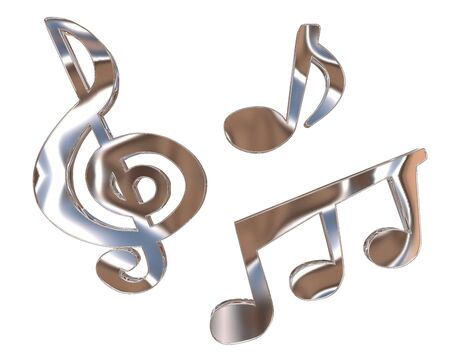 octaves: Symbol silver notes on a white background