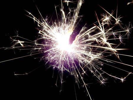 pyrotechnics: New Year with sparklers sparks close-up Stock Photo