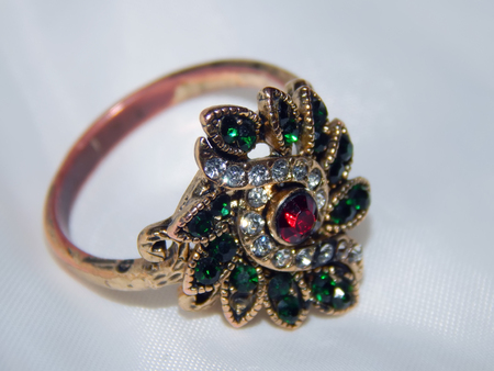 Old jeweler ring with stones close-up