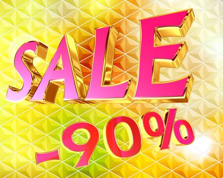 Illustration of text sale with discount digit on golden background