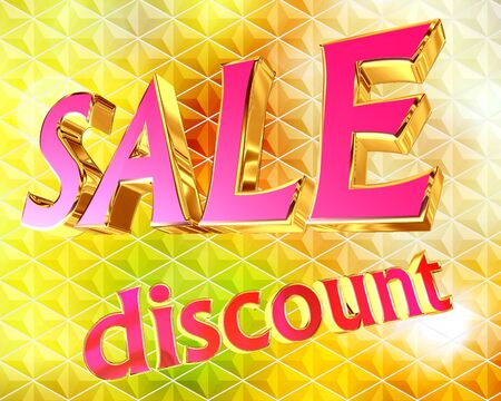 Illustration of a text sale with a discount on a golden background Stock Photo