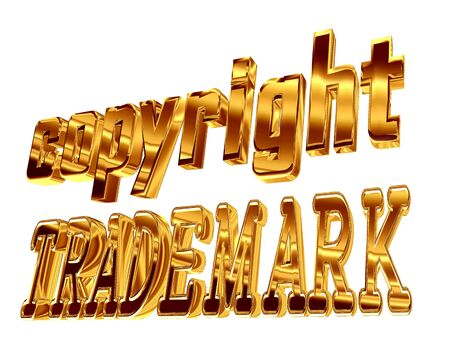 Gold text copyright trademark on a white background Stock Photo