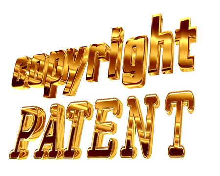 Gold text copyright patent on a white background Stock Photo