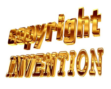 Gold text copyrights invention on a white background Stock Photo