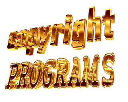 Gold text copyright programs on a white background Stock Photo