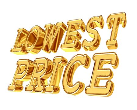 Golden Text Lowest Price on a white background