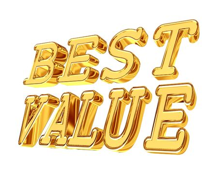 Gold text Best value on a white background Stock Photo