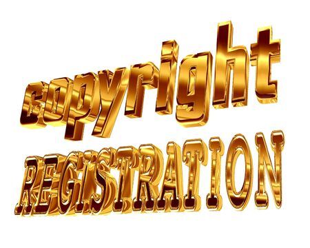 3d illustration. Gold text copyright registration on a white background Stock Photo