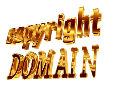 3d illustration. Gold text copyright domain on a white background Stock Photo