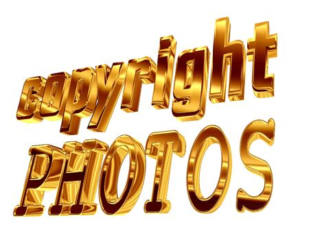 3d illustration. Gold text copyright photos on a white background
