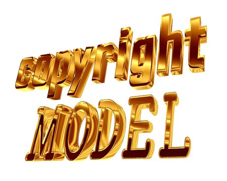 3d illustration. Gold text copyright model on white background