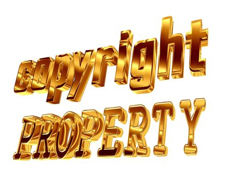 3d illustration. Golden Text property of the copyright on a white background