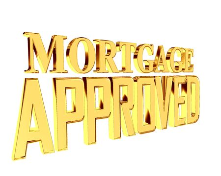 Text with golden letters mortgage approved on a white background