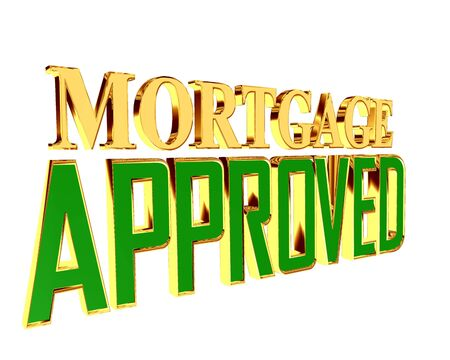 confirm: Text with golden letters mortgage approved on a white background