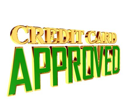 Text with golden letters credit card approved on a white background