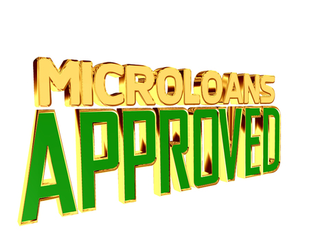 Text with golden letters microloans approved on a white background