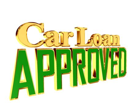 Text with golden letters car loan approved on a white background Stock Photo