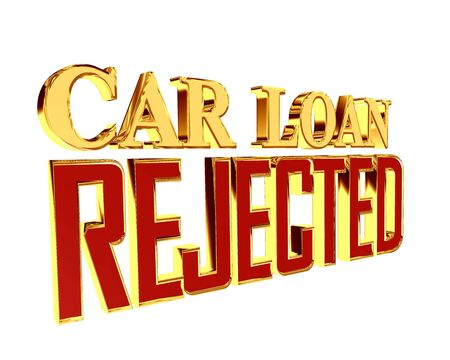 Text with golden letters car loan rejected on a white background
