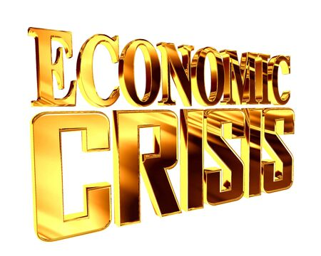 stock predictions: Golden Text the economic crisis on a white background