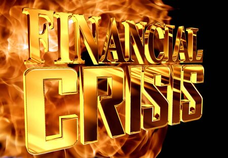 stock predictions: Golden Text the financial crisis on the background of a flame of fire