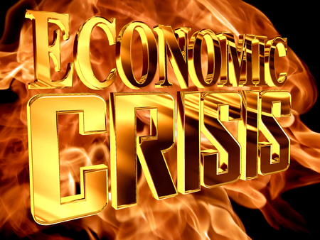 stock predictions: Golden Text the economic crisis on the background of a flame of fire