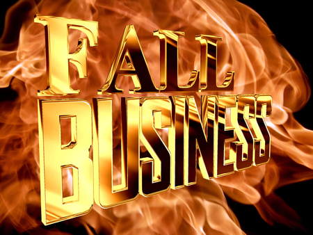 stock predictions: Golden Text business falling on the background of a flame of fire