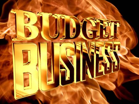 stock predictions: Golden Text business budget on a background of a flame of fire Stock Photo