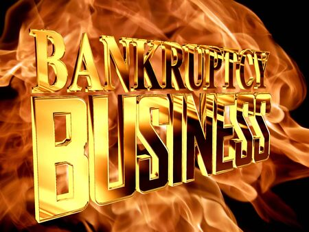 Golden Text bankruptcy business against the backdrop of a flame of fire