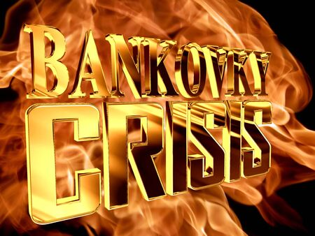 Golden Text banking crisis on the background of a flame of fire Stock Photo