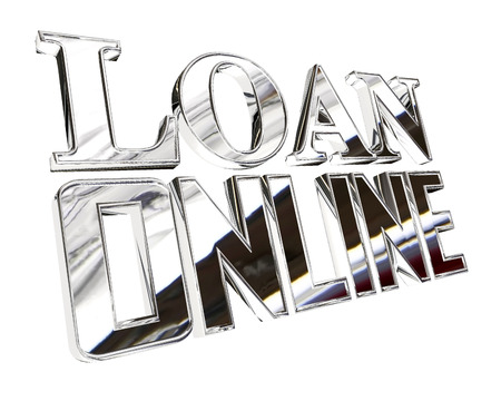 Silver text loan online on a white background Stock Photo