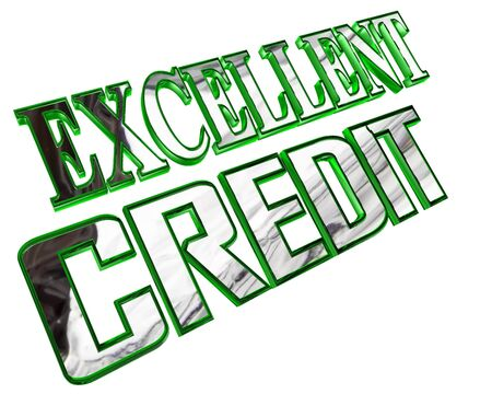 Silver excellent credit text on a white background Stock Photo
