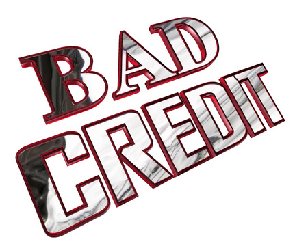 Silver bad credit text on a white background